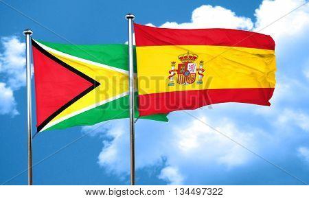 Guyana flag with Spain flag, 3D rendering