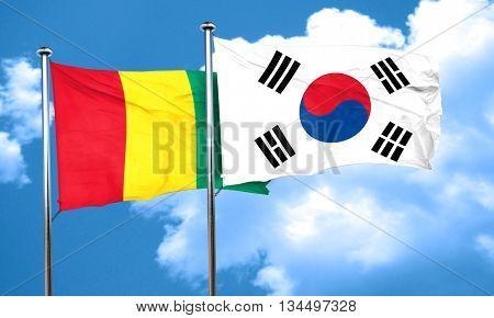 Guinea flag with South Korea flag, 3D rendering