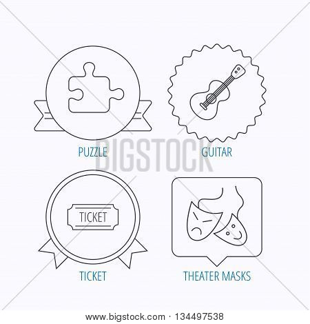 Puzzle, guitar music and theater masks icons. Ticket linear sign. Award medal, star label and speech bubble designs. Vector