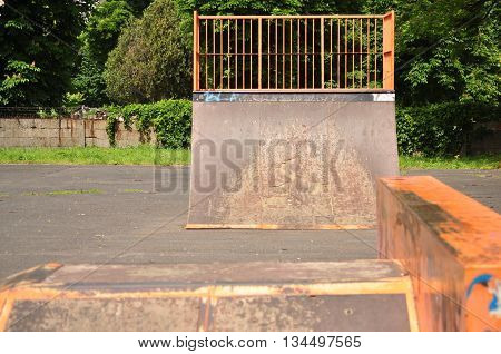Jumping ramp on the public park for bicycle