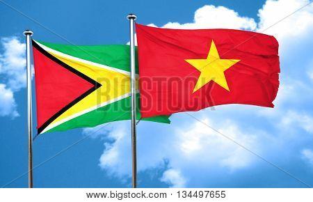 Guyana flag with Vietnam flag, 3D rendering