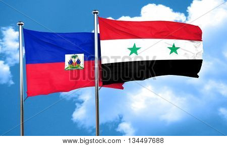 Haiti flag with Syria flag, 3D rendering