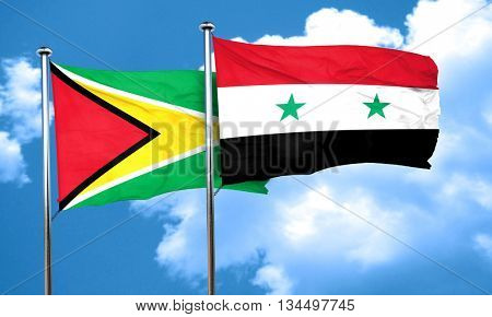 Guyana flag with Syria flag, 3D rendering