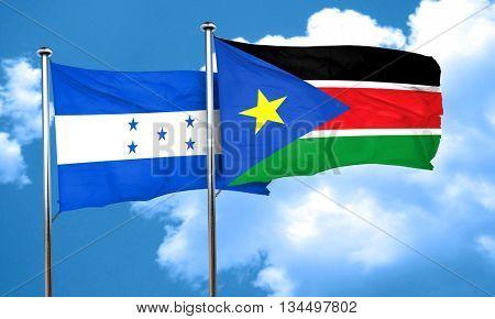 Honduras flag with South Sudan flag, 3D rendering