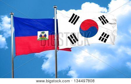 Haiti flag with South Korea flag, 3D rendering