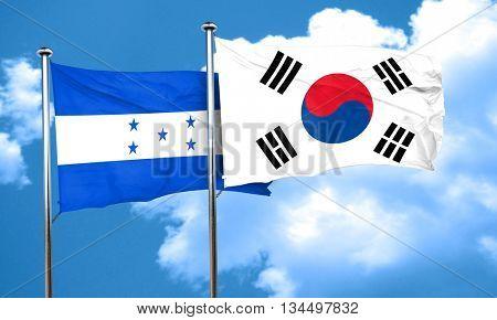 Honduras flag with South Korea flag, 3D rendering
