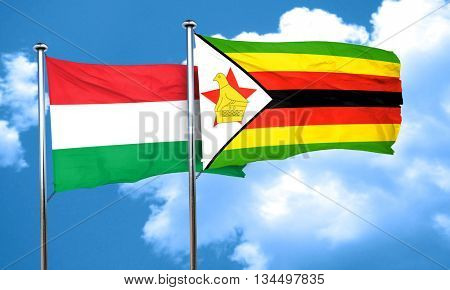 Hungary flag with Zimbabwe flag, 3D rendering
