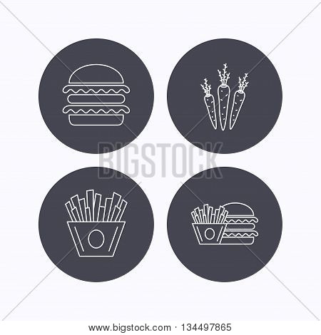 Hamburger, carrot and chips icons. Burger and chips fries linear signs. Flat icons in circle buttons on white background. Vector