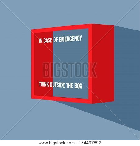 Emergency box on the wall with punning inscription on it - In case of emergency think outside the box.