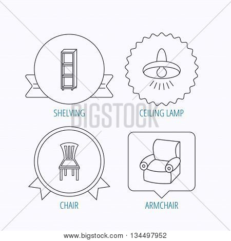 Chair, ceiling lamp and armchair icons. Shelving linear sign. Award medal, star label and speech bubble designs. Vector