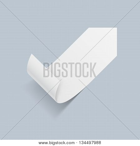 Illustration of White Paper Sticker with Bended Coner on Blue