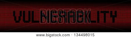 Vulnerability text on red laptops background illustration