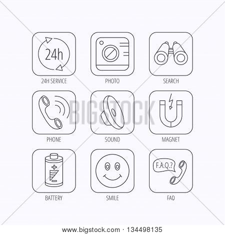Phone call, battery and faq speech bubble icons. 24h service, photo camera and sound linear signs. Smile and search icons. Flat linear icons in squares on white background. Vector