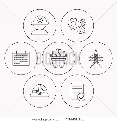 Worker, minerals and engineering helm icons. Electricity station linear sign. Check file, calendar and cogwheel icons. Vector