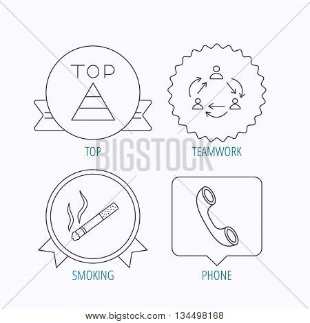 Teamwork, smoking and phone call icons. Top linear sign. Award medal, star label and speech bubble designs. Vector