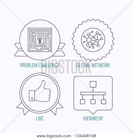 Global network, like and hierarchy icons. Maze linear sign. Award medal, star label and speech bubble designs. Vector