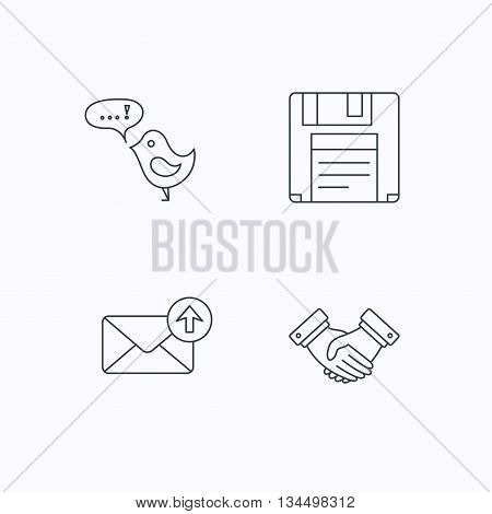 Outbox mail, message and handshake icons. Floppy disk linear sign. Flat linear icons on white background. Vector