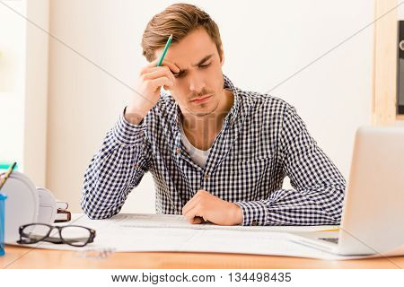 Serious Tired Architect Thinking About Way To End Plan
