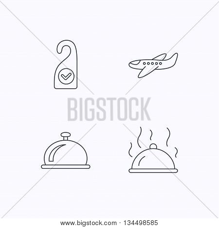 Hot food, reception bell and clean room icons. Airplane linear sign. Flat linear icons on white background. Vector