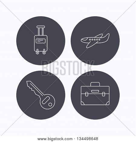 Suitcase on wheels, key and airplane icons. Briefcase linear sign. Flat icons in circle buttons on white background. Vector