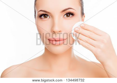 Pretty Sensitive Girl  Wash Off Makeup With Cotton Pad