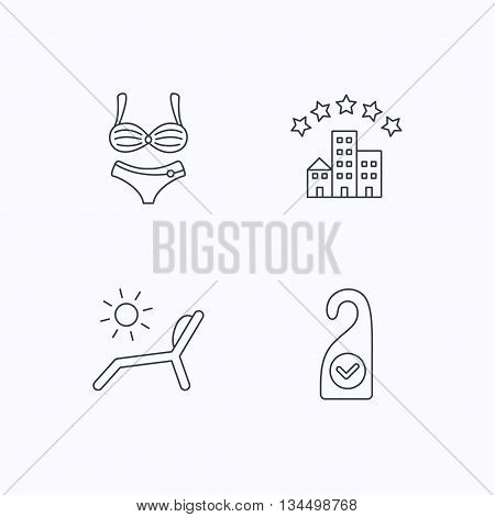 Hotel, lingerie and beach deck chair icons. Clean room linear sign. Flat linear icons on white background. Vector
