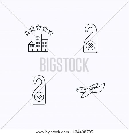 Hotel, airplane and clean room icons. Do not disturb linear sign. Flat linear icons on white background. Vector