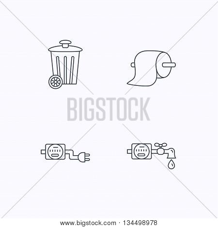 Trash bin, electricity and water counter icons. Toiler paper linear sign. Flat linear icons on white background. Vector