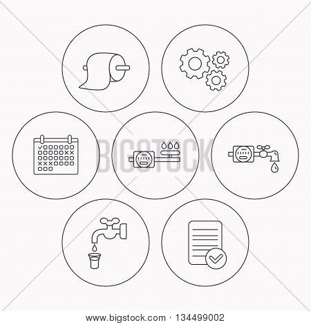 Toilet paper, gas and water counter icons. Save water linear sign. Check file, calendar and cogwheel icons. Vector