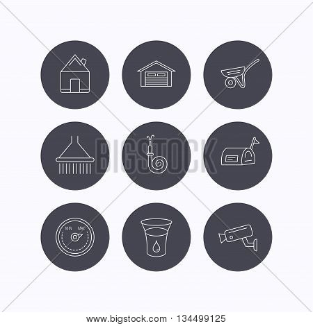 Real estate, garage and heat regulator icons. Trolley, fire hose and mailbox linear signs. Shower, glass of water and video monitoring icons. Flat icons in circle buttons on white background. Vector
