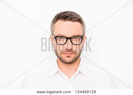 Portrait Of Hapy Young Smart Businessman In Glasses On White Background