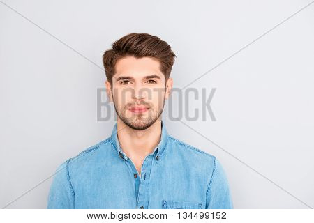 Portrait Of Handsome Young Successful Businessman In Blue Shirt