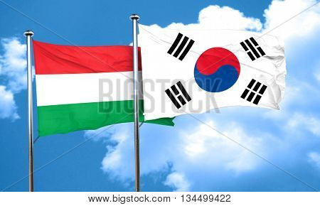 Hungary flag with South Korea flag, 3D rendering