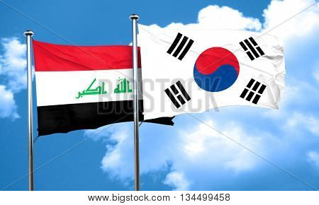 Iraq flag with South Korea flag, 3D rendering
