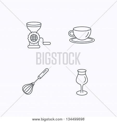 Coffee cup, whisk and wineglass icons. Meat grinder linear sign. Flat linear icons on white background. Vector