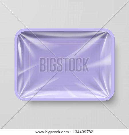 Empty Purple Plastic Food Container on Gray