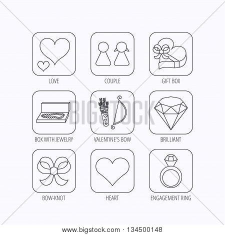 Love heart, brilliant and engagement ring icons. Bow, couple and gift box linear signs. Valentine amour arrows flat line icons. Flat linear icons in squares on white background. Vector