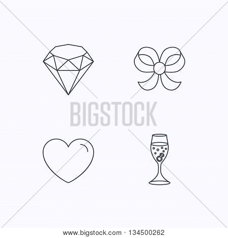 Love heart, brilliant and engagement ring icons. Bow-knot linear sign. Flat linear icons on white background. Vector