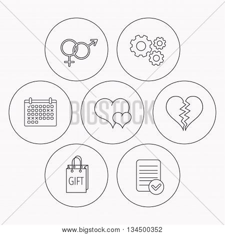 Love heart, gift bag and male with female icons. Broken heart or divorce linear signs. Check file, calendar and cogwheel icons. Vector