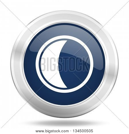 moon icon, dark blue round metallic internet button, web and mobile app illustration