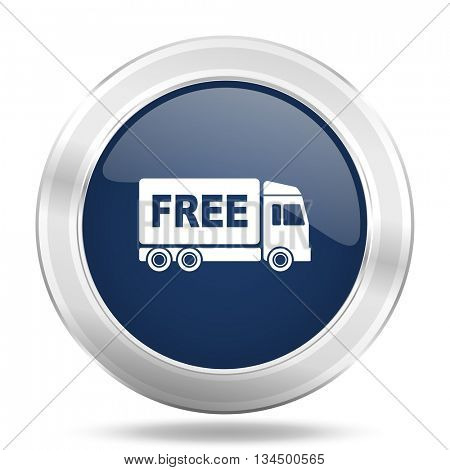 free delivery icon, dark blue round metallic internet button, web and mobile app illustration