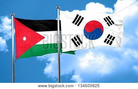 Jordan flag with South Korea flag, 3D rendering