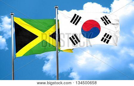 Jamaica flag with South Korea flag, 3D rendering