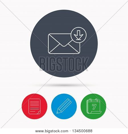 Mail inbox icon. Email message sign. Download arrow symbol. Calendar, pencil or edit and document file signs. Vector