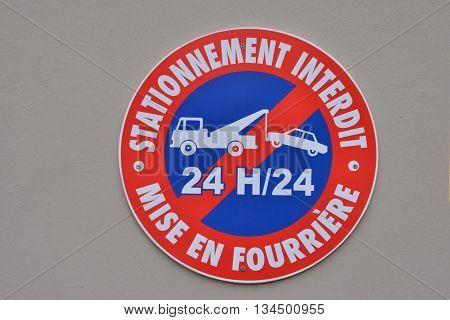 Le Diamant; Martinique France - august 26 2015 : parking forbidden sign