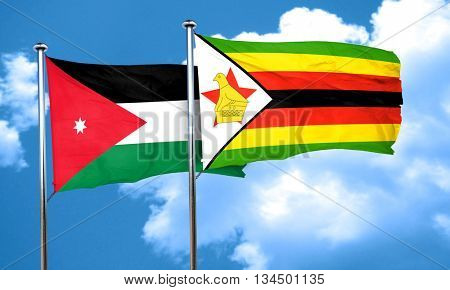 Jordan flag with Zimbabwe flag, 3D rendering