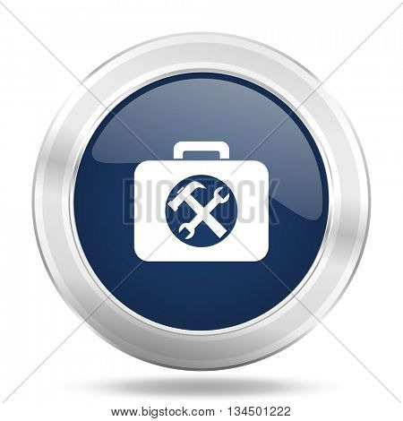 toolkit icon, dark blue round metallic internet button, web and mobile app illustration