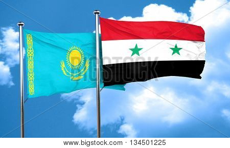 Kazakhstan flag with Syria flag, 3D rendering