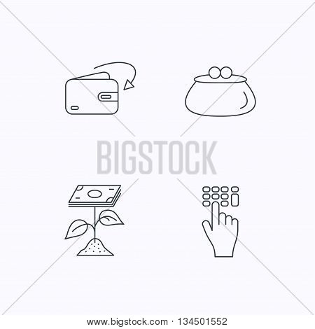 Cash money, profit and wallet icons. Receive money, enter code linear sign. Flat linear icons on white background. Vector