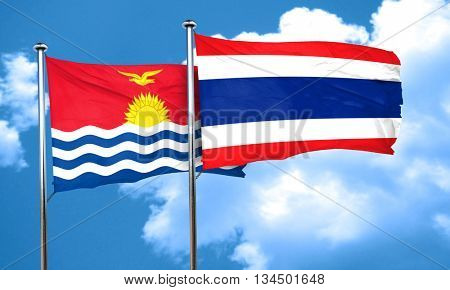 Kiribati flag with Thailand flag, 3D rendering